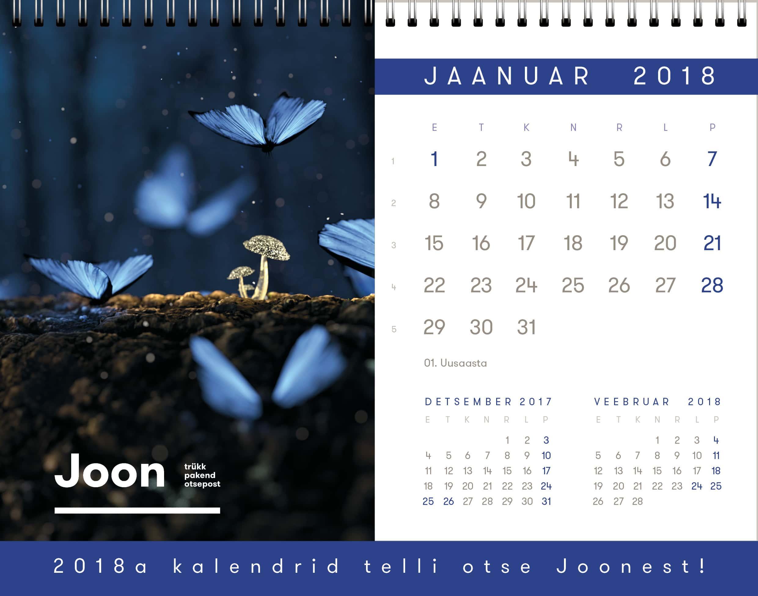 Lauakalender_Joon, kalendrite tellimine 2018