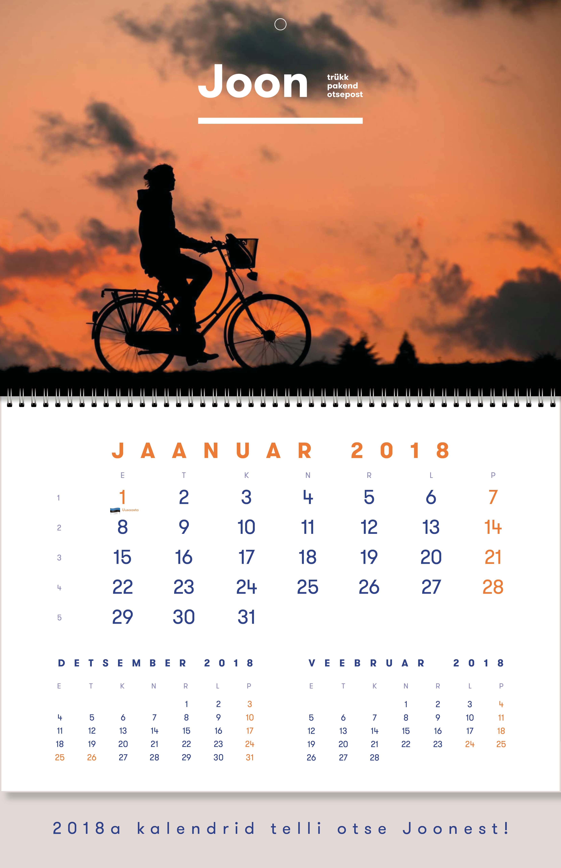 Uno_Joon - monokalender, kalendrite tellimine 2018